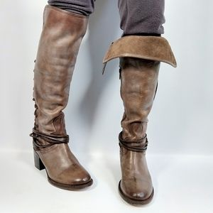 Freebird distressed lace up knee high boots 9